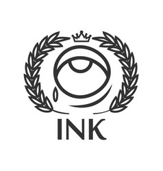 ink tattoo salon label with eye small tear king vector image vector image