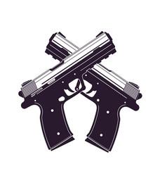 Modern pistols two crossed handguns vector