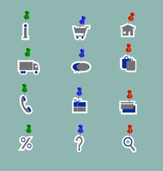 Online shoping icons collage pins vector image vector image