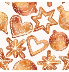 Seamless pattern of cute watercolor gingerbread vector image vector image
