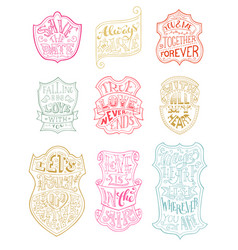 set of outlined romantic badges vector image