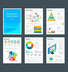 template of business brochure with infographics vector image