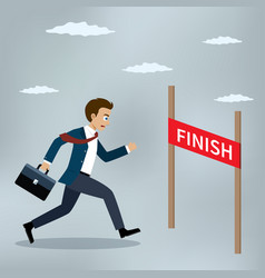 businessman running to the finish line vector image vector image