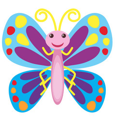 colorful butterfly with happy smile vector image