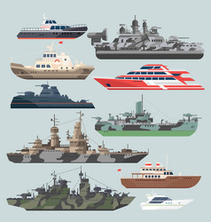 passenger ships and battleships submarine vector image