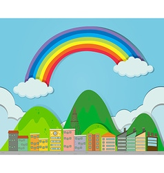 Rainbow over the city vector image vector image