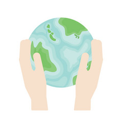 two hands hold a planet earth in flat style vector image