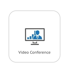 Video Conference Icon Business Concept Flat vector image vector image