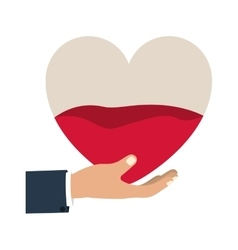 hand holding up a heart bag with blood vector image