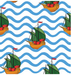 ocean wave seamless pattern with anchor stylish vector image
