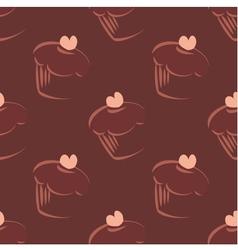 Tile cupcake dark pattern or background wallpaper vector image