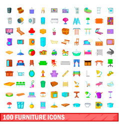 100 furniture icons set cartoon style vector