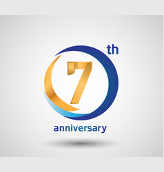 7 anniversary design with blue and golden circle vector