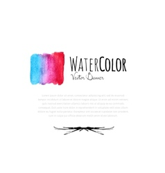 Abstract watercolor card with blue and red color vector image vector image