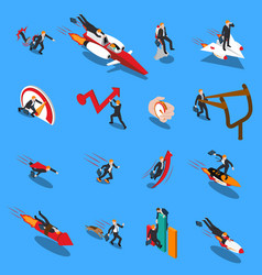 Accelerate business concept isometric icons vector