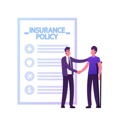 Accident insurance concept agent shaking hand vector