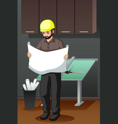Architect looking at blueprint vector