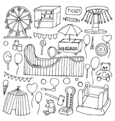 Attraction doodle Set vector image