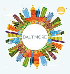 Baltimore usa maryland city skyline with color vector