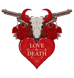 banner on theme love and death with pistols vector image