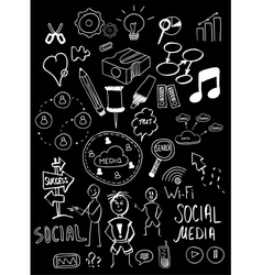 Black isolated web doodles set vector image