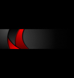 black tech perforated banner with red waves vector image