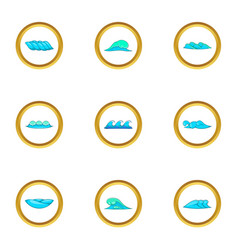 Blue sea waves icons set cartoon style vector