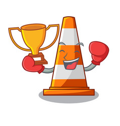 boxing winner on traffic cone against mascot vector image