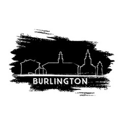 Burlington skyline silhouette hand drawn sketch vector
