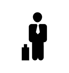 businessman with suitcase icon icon simple vector image