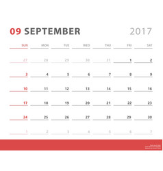 Calendar planner 2017 september week starts vector