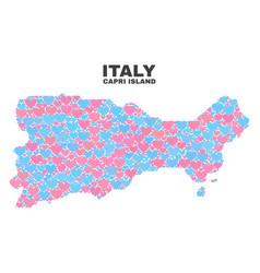 Capri island map - mosaic of lovely hearts vector