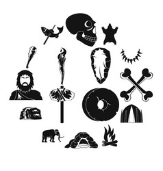 caveman icons set simple style vector image