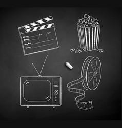 chalk drawn set of movie symbols vector image
