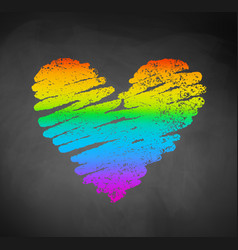 Chalked sketch of rainbow colored heart vector