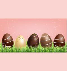 chocolate eggs set realistic milk vector image