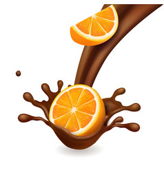 chocolate splash with orange fruit vector image