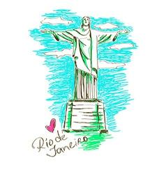 Christ the redeemer in rio de janeiro vector