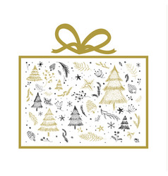 christmas gift box design on white background vector image