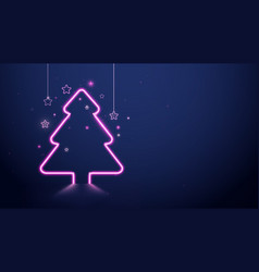 christmas tree pink neon light and stars vector image