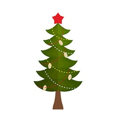 Christmas tree with a star and buds on a white vector image
