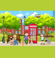 city boy playing with pet in park vector image