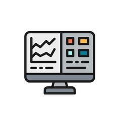 Computer screen with spreadsheet financial vector