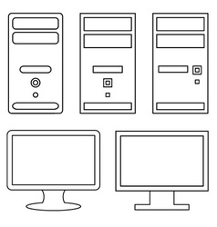 Computers and monitors vector