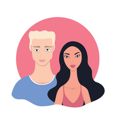 Couple portrait happy young mixed race multi vector