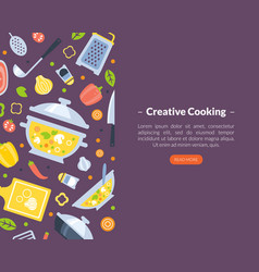 creative cooking landing page template online vector image