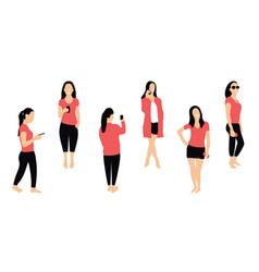 crowd of people with smartphones women teens vector image