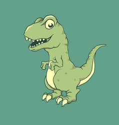 Cute little dinosaur raptor vector