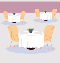 Dining tables and chairs for two people vector