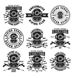 Diving school set of nine black emblems vector